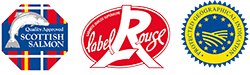 Logo du saumon, du label rouge et de sa certification IGP