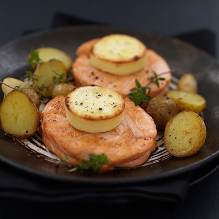 Noisette de Saumon écossais Label Rouge au chèvre et pommes grenaille
