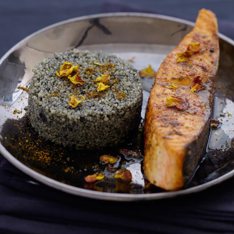 Croustillant de Saumon écossais Label Rouge aux épices, semoule noire
