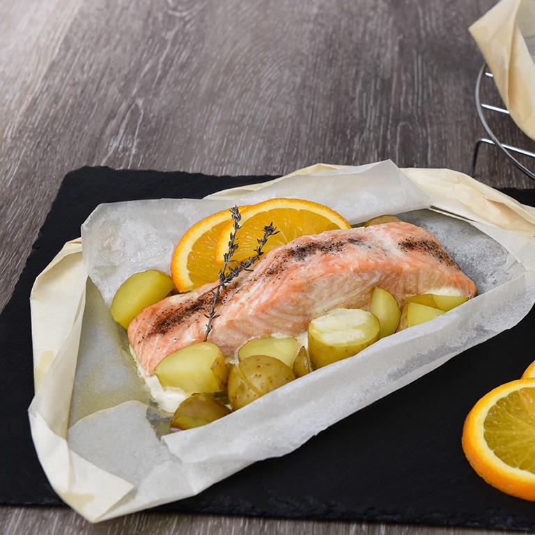 Recette de papillotes de saumon et crème fraîche à l'orange