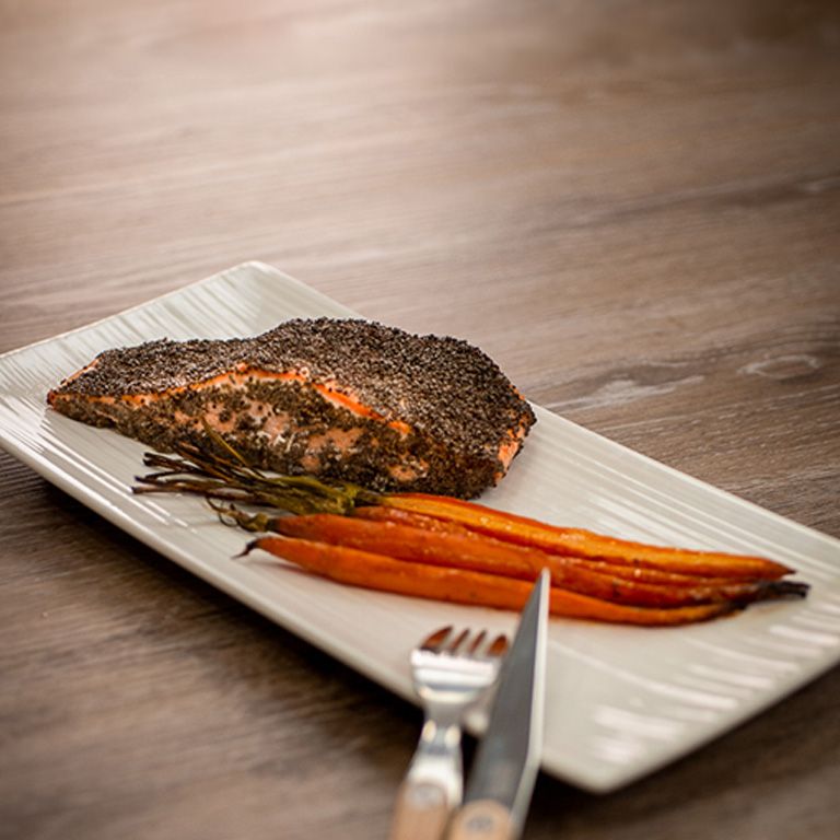 Pavé de saumonrôti aux graines de chia et au miel