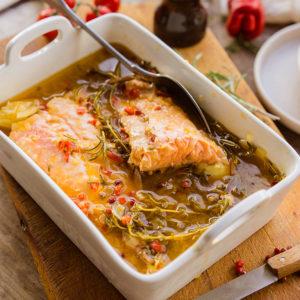 Escabèche de saumon réalisée par Blog de Châtaigne