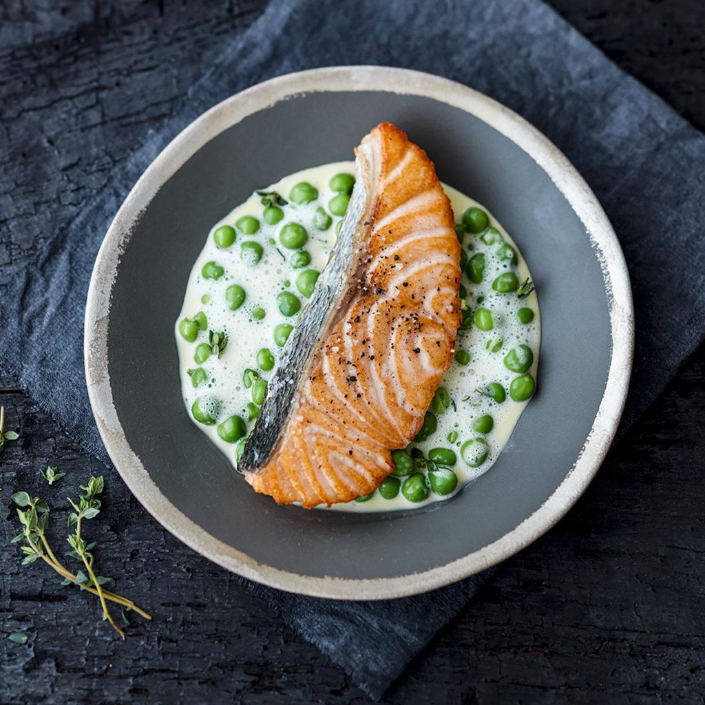 saumon-grillé-petits-pois