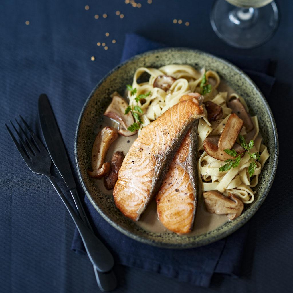 saumon-croustillant-cèpes