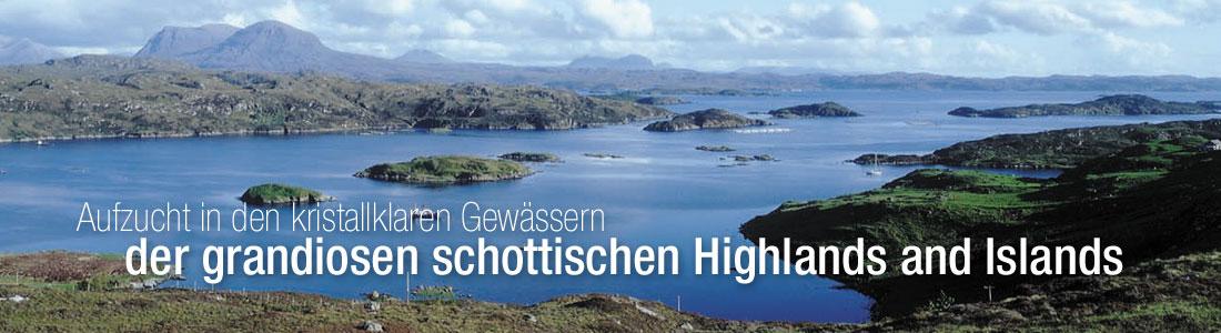 Aufzucht in den kristallklaren gewassern der grandiosen schottischen Highlands and Islands
