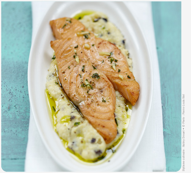 Label Rouge Scottish salmon with garlic, polenta and olives