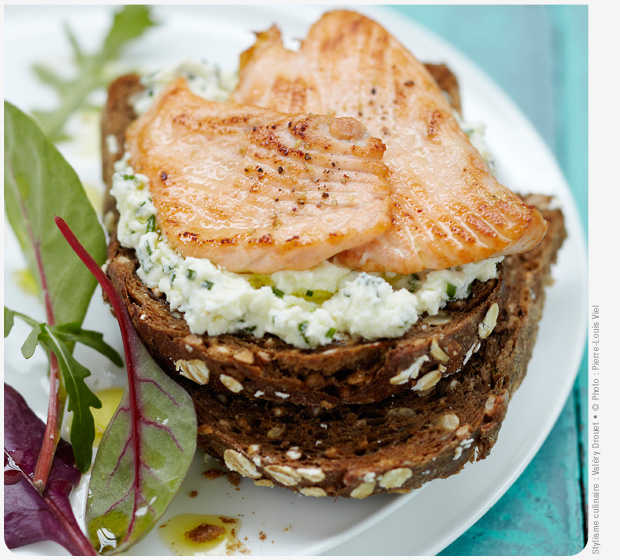 Label Rouge Scottish salmon toastie with fromage frais and chives