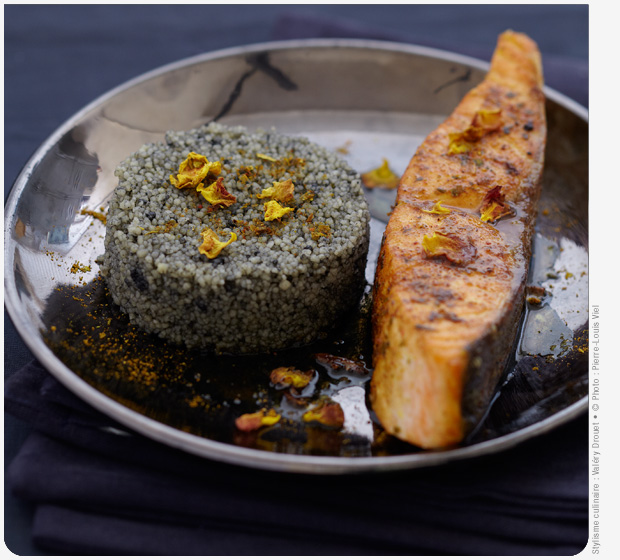 Christmas spiced Label Rouge Scottish salmon with black semolina