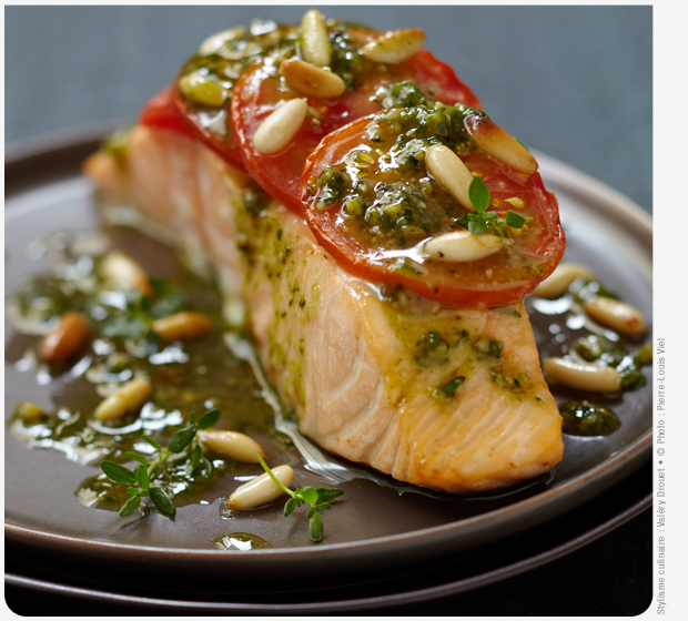 Label Rouge Scottish Salmon with tomato and pesto