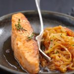 Caramelized salmon with maple syrup