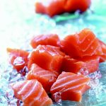 Scottish salmon cubes with red label