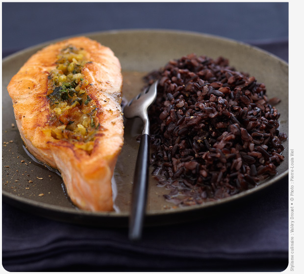 Coriander stuffed Label Rouge Scottish salmon with Black Venere Rice