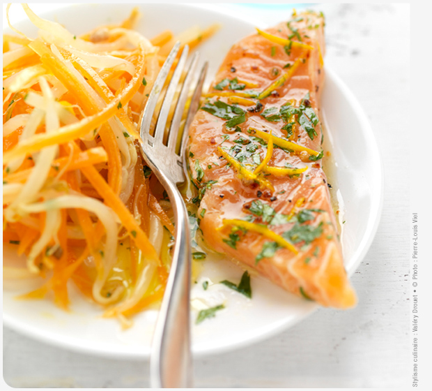 Label Rouge Scottish salmon marinated in orange and coriander