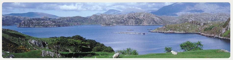 Landschaft von Schottland mit Aquakultur