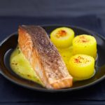 Crispy Label Rouge Scottish salmon portions with nutmeg, saffron potatoes and turnip